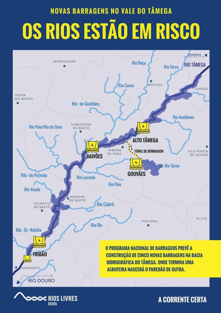 Mapa novas barragens no rio Tâmega